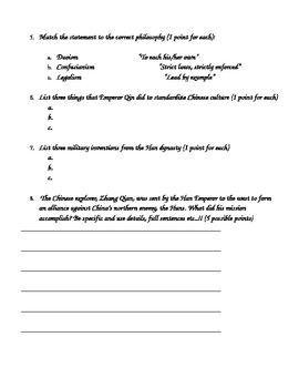 Ancient China Final Test