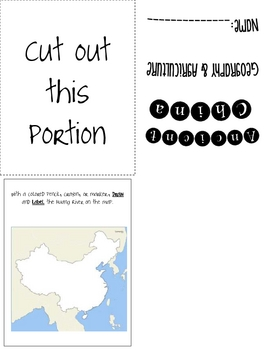 Ancient China Geography & Agriculture Foldable