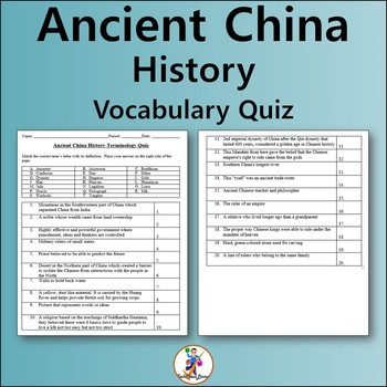 Ancient China History Vocabulary Quiz and Word List
