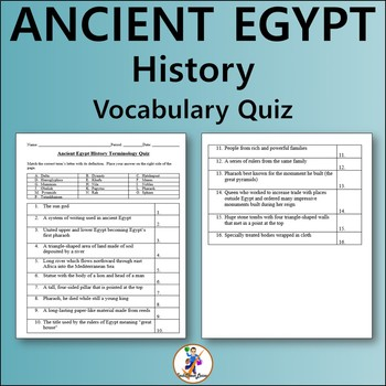 Ancient Egypt History Vocabulary Quiz and Word List