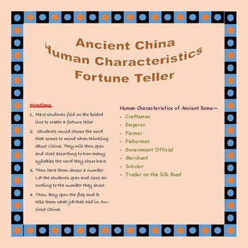 Ancient China Human Characteristics Fortune Teller