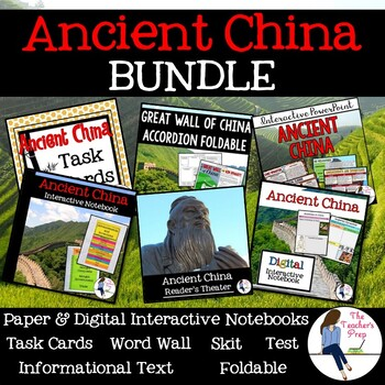 Ancient China Interactive Notebook, Task Cards, Foldable and Skit Bundle