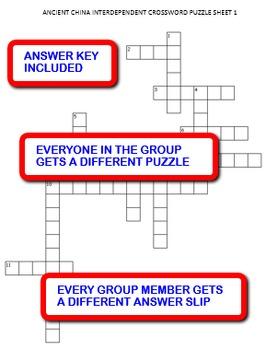 Ancient China:  Interdependent Crossword Puzzles Activity