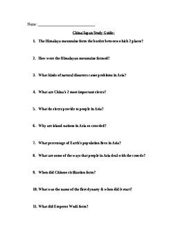 Ancient China/Japan Study Guide