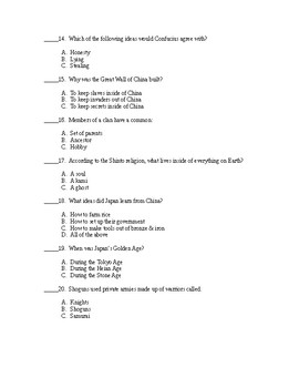 Ancient China/Japan Test Pre-modified for SPED students - Includes Answer Key