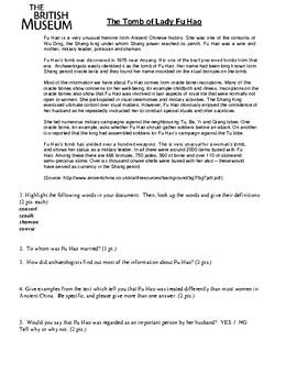 Ancient China - Lady Fu Hao biography and DBQ