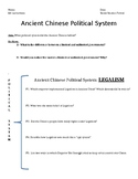 Ancient China Legalism Reading Comprehension and Writing Prompt
