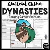 Ancient China Major Dynasties Reading Comprehension Worksheet
