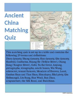 Ancient China Matching Quiz for Grades 6-12