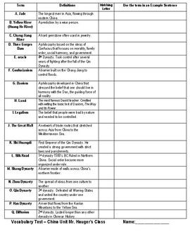 Ancient China Matching Vocabulary Test from Dynasty to Geography