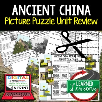 Ancient China Picture Puzzle Unit Review, Study Guide, Test Prep