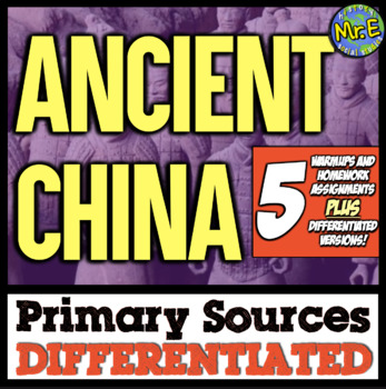 Ancient China Primary Sources: 5 DIFFERENTIATED Sources for Ancient China!