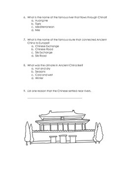 Ancient China Quiz Assessment & Study Guide