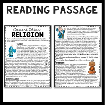 Ancient China Religion Reading Comprehension; Taoism, Confucianism, Buddhism
