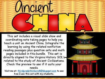 Ancient China Slide Show and Materials Bundle VA SOL Aligned