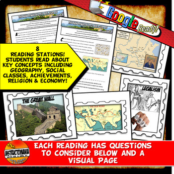 Ancient China Stations with Graphic Organizer & Google Reading Investigation