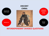 Ancient China:  Interdependent Divided Questions Activity