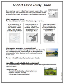 Ancient China Study Guide and Review Worksheet