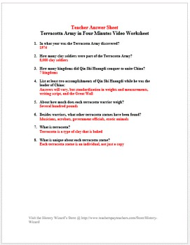 Ancient China: Terracotta Army in Four Minutes Video Worksheet