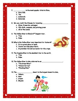 Ancient China Test and Answer Key