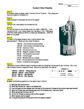 Ancient China Timeline - NO PREP