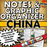 Ancient China Two Page CLOZE Notes & Graphic Organizer wit
