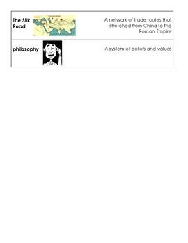 Ancient China Vocabulary Cards (S.S. Framework Aligned)