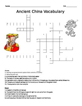 Ancient China Vocabulary Crossword