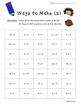 Ways to Make 12! Math Number Sense Activity--FREE!