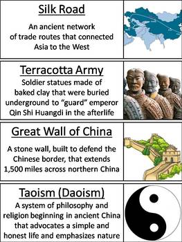 Ancient China Word Wall Cards: Dynasties, Famous Figures, and Terms