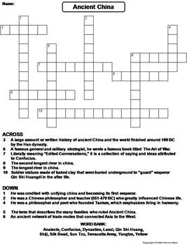 ancient china worksheet crossword puzzle by science spot tpt. Black Bedroom Furniture Sets. Home Design Ideas