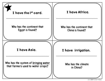 """Ancient China and Ancient Egypt Review Game """"I Have, Who Has"""""""