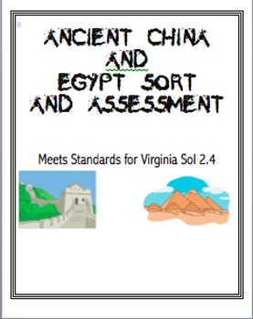 Ancient China and Egpyt Assessment Sort