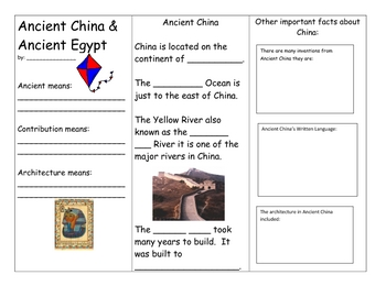 ancient china and egypt brochure by mary griffith tpt