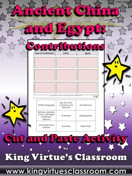 Ancient China and Egypt: Contributions Cut and Paste Activity