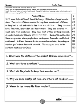 Ancient China fluency and comprehension leveled passages