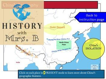 Ancient China's Geography DIGITAL- Interactive map, digital map label, quiz