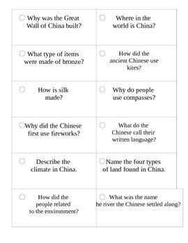 Ancient China_Study Cards_2nd Grade