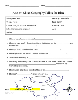 Ancient Chinese Civilization Geography Fill in the Blank