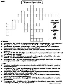 Ancient Chinese Dynasties Worksheet/ Crossword Puzzle