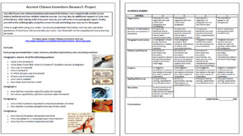 Ancient Chinese Inventions Research (included Rubric)