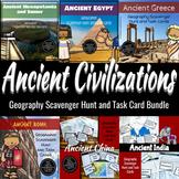 Ancient Civilization Geography Scavenger Hunt & Task Card Bundle- Differentiated