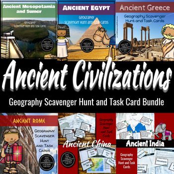 Ancient Civilization Geography Scavenger Hunt & Task Card Bundle- Differentiated