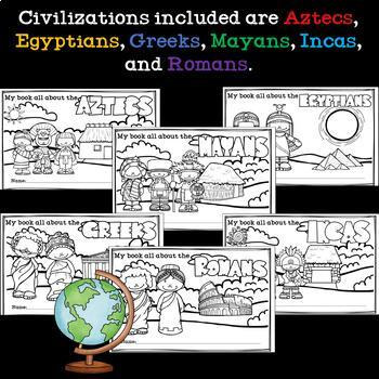 Ancient Civilization Mini Books Bundle for Early Readers - Six Civilizations