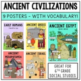Ancient Civilization Posters / Word Wall - 6th Grade Social Studies