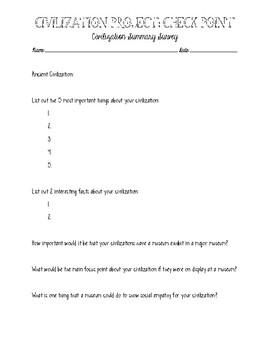 Ancient Civilization Summary Worksheet