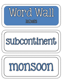 Ancient Civilizations: Ancient India Word Wall and Vocabulary Builder