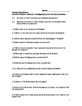 Ancient Civilizations Holt Greece Chapter 9 Section 1 Questions