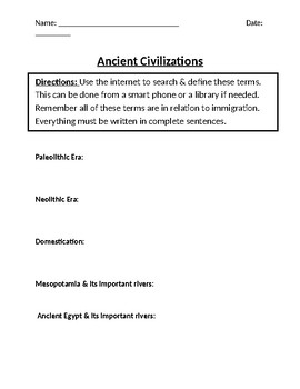 Ancient Civilizations Homework Definitions