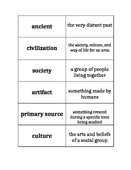 Ancient Civilizations Introductory Vocabulary Context Clues with Flashcards